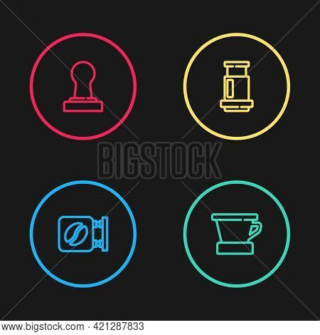 Set Line Street Signboard Coffee, V60 Maker, Aeropress And Coffee Tamper Icon. Vector