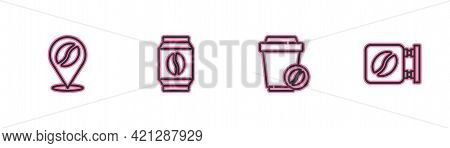 Set Line Location With Coffee Bean, Coffee Cup To Go, Bag Beans And Street Signboard Icon. Vector