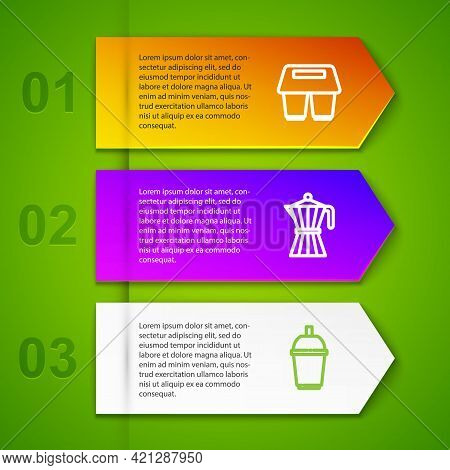 Set Line Coffee Cup To Go, Moca Pot, And Tamper. Business Infographic Template. Vector