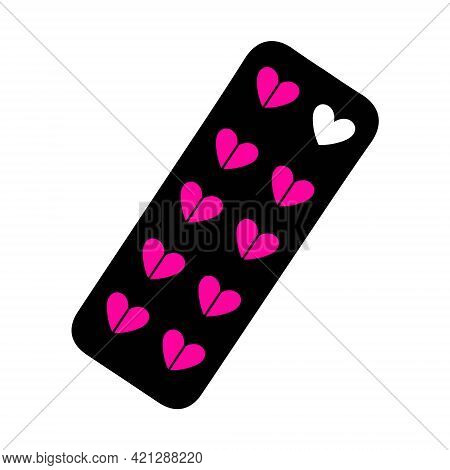 Pills Icon Metaphor Of Love And Sexual Health. Template For Valentine Day.