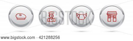 Set Line French Beret, Man, Croissant And Triumphal Arch. Silver Circle Button. Vector