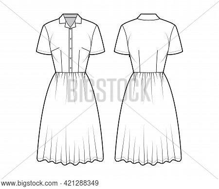 Dress House Shirt Technical Fashion Illustration With Short Sleeves, Knee Length Full Skirt, Classic