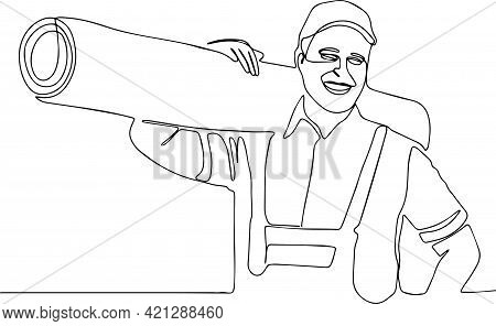 Delivery Strong, Muscular Man Professional Worker Of Transportation Free Space For Text Male Worker