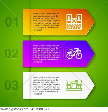 Set Line Notre Dame, Bicycle, French Cafe And Rooster. Business Infographic Template. Vector