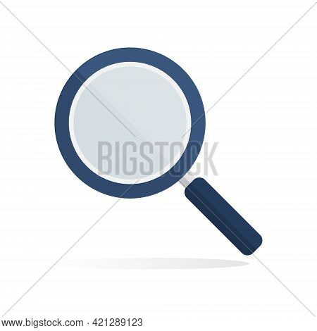 Magnifying Glass Flat Icon. Magnifier Blue Search Element. Detective Symbol. Vector Isolated On Whit