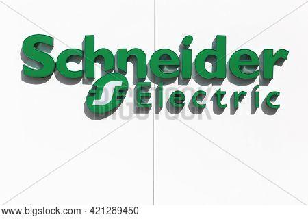 Ballerup, Denmark - March 9, 2017: Schneider Electric Logo On A Wall. Schneider Electric Is A Europe