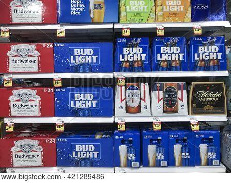 Indianapolis - Circa May 2021: Anheuser-busch Inbev Beer Display, Including Budweiser, Bud Light, Mi