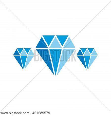 Diamonds Blue Icon Set. Jewelry Symbol. Cristal Shape Sign. Gemstone Collection. Vector Illustration