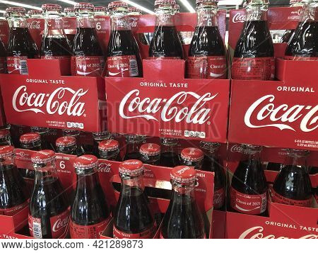 Indianapolis - Circa May 2021: Coca Cola Bottle Display. Coke Products Are Among The Best Selling So