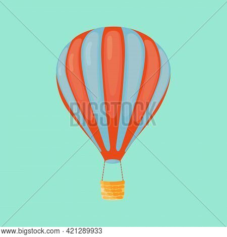 Red And Blue Striped Hot Air Balloon With Basket Isolated Turquoise Background. Hot Air Balloon For