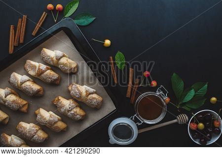 Fresh Baked Croissants. Warm Fresh Croissants. French And American Croissants And Baked Pastries Are