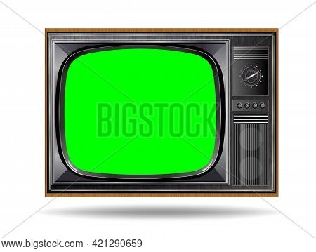 Realistic Tv Lcd Screen Mockup. Panel With Green Screen Isolated On White Background. Vector Illustr