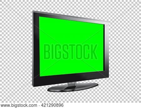 Realistic Tv Lcd Screen Mockup. Panel With Green Screen Isolated On Transparent Background. Vector I