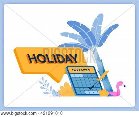 Vector Illustration Of Writing 3d Holiday In Comment Box. Schedule For Year End Holidays. Vector Ill