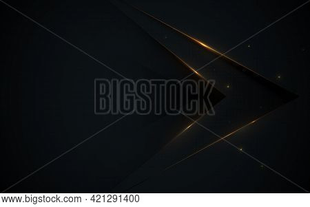 Abstract Arrowheads With Luxury Black And Glitter Light Gold Background. Vector Illustration