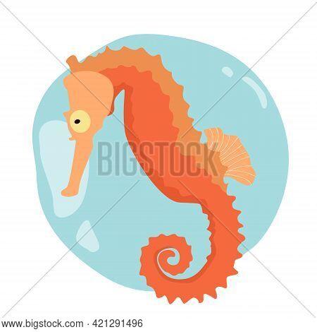 Minimalist Sea Horse On Abstract Water Bubble Vector Clip Art Eps