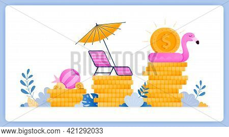 Vector Illustration Of Tourism Sector Investment Growth. Take Profit By Traveling. Vector Illustrati
