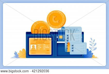 Vector Illustration Of Wallet For Saving Up And Managing Money Asset Conventionally. Vector Illustra