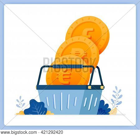 Vector Illustration Of Buy And Trade Money On Currency Exchanges. Mutual Fund Shopping. Vector Illus