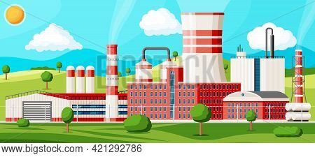 Factory Building With Nature Landscape. Industrial Factory, Power Plant. Pipes, Buildings, Warehouse