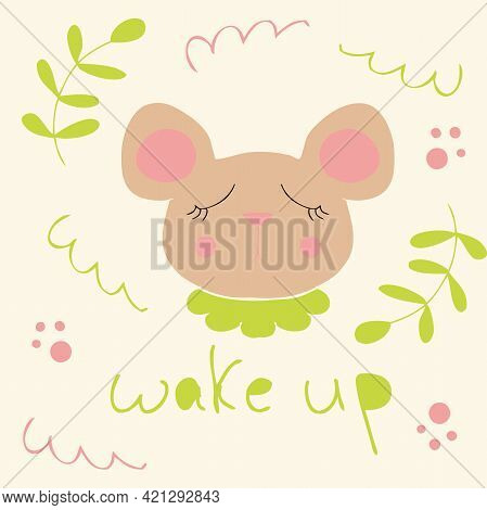 Wake Up! Portrait Of A Cute Sleeping Mouse. Cartoon Style. Hand Drawn Vector Illustration. Design Fo