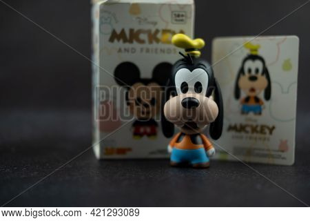 Samut Prakan, Thailand - May 22, 2021 : Cute Figurine Goofy Collections From Blind Box In Miniso Sho
