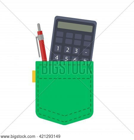 A Cute Green Pocket Containing A Calculator And A Pencil With A Pen. The Clothes Of An Engineer Or A