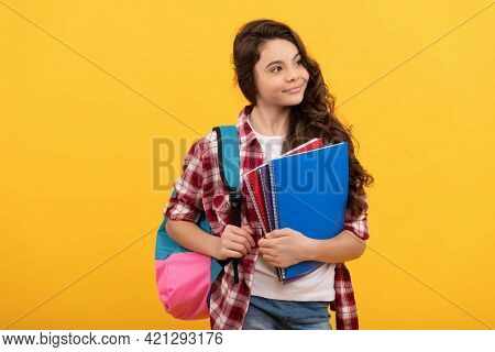 Education And Knowledge. High School. Schoolgirl With Notebook And Backpack.