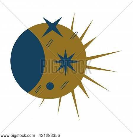 Mystical Moon And Sun, Eclipse. Minimalistic Flat Style. Blue And Gold Color. Symbol Of Magic, Mysti