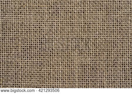Closeup Of Burlap Hessian Sacking In High Resolution. Old Vintage Blurred Linen Cloth Textile. Burla