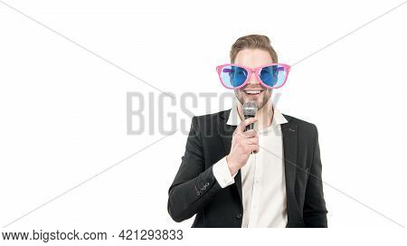 Humorous In Nature. Funny Man With Microphone. Standup Show. Standup Comic