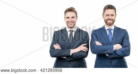 Two Happy Men In Suit. Businessmen Isolated On White. Boss And Employee. Confident Business Partners