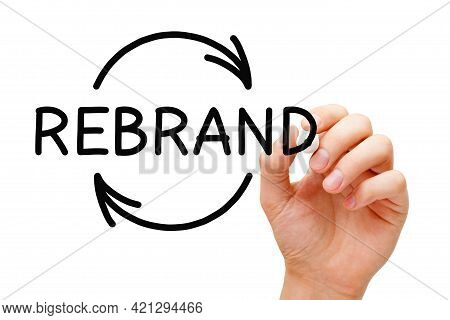 Hand Drawing Rebrand Arrows Business Concept With Black Marker Isolated On White Background.