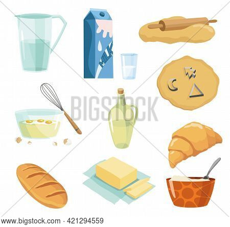 Ingredients And Cookware For Making Dough, Cookie And Croissant. Process Cooking Doughing And Mixing