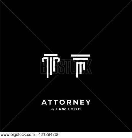 A Bold And Clear Logo About The Attorney Law Pillar And The Letter M. Eps10, Vector.