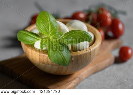 Close Up Of Fresh Basil Leaf. Ingredient For Italian Salad Caprese With Mozzarella Cheese, Tomatoes,