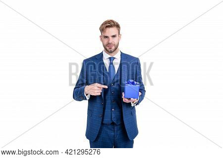 Man Pointing Finger On Business Reward. Occasion Greeting. Businessman