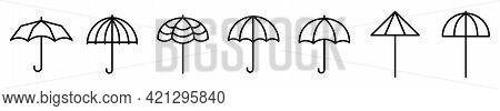 Umbrella Icons. Set Of Umbrella Icons. Vector Illustration. Linear Icons Of Umbrella