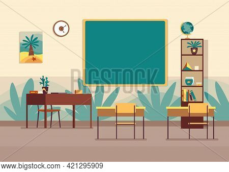 Empty Classroom. Nobody School Class Room With Blackboard. Modern Interior For Education. Place To A