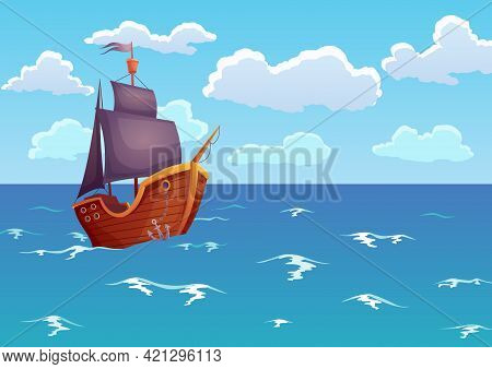 Pirate Wooden Ship In Ocean. Advertising Of Tropical Sea Landscape With Antique Sailboat. Solitude Y