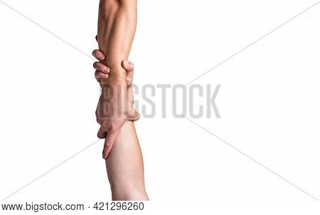 Rescue, Helping Gesture Or Hands. Close Up Help Hand. Helping Hand Concept, Support. Two Hands, Shak
