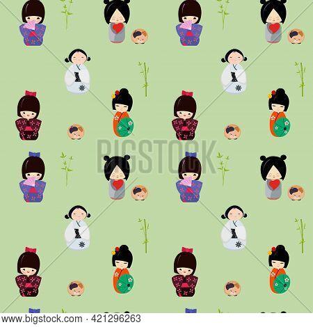 Set Of Cute Japanese Kokeshi Dolls. Seamless Pattern With Cute Kawaii Kokeshi Dolls.