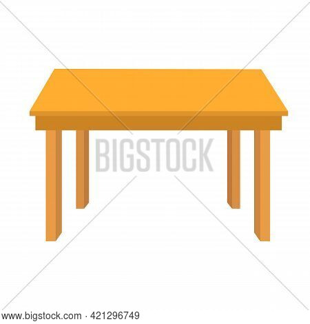 Wooden Table On White Background. Brown Simple Table Sign. Table With Four Legs Symbol. Flat Style.