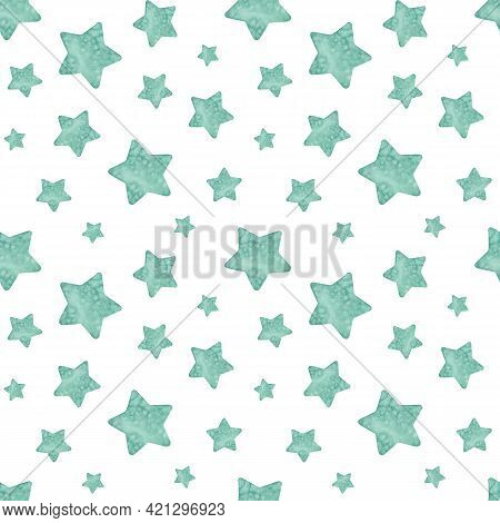 Watercolor Seamless Green Star Pattern. Hand-drawn Llustration. Holiday And Party Background.