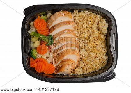Ready Food In A Container. Stewed Chicken, Stewed Carrot, Cabbage And Porridge. Isolated On A White