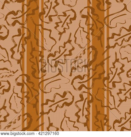 Oak Leaf Striped Seamless Vector Pattern Background. Simple Calligraphy Brush Foliage On Vertical St