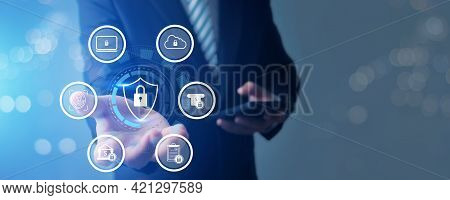 Protection Network Security Computer Data And Safe   Financial Stability Businessman Holding Shield