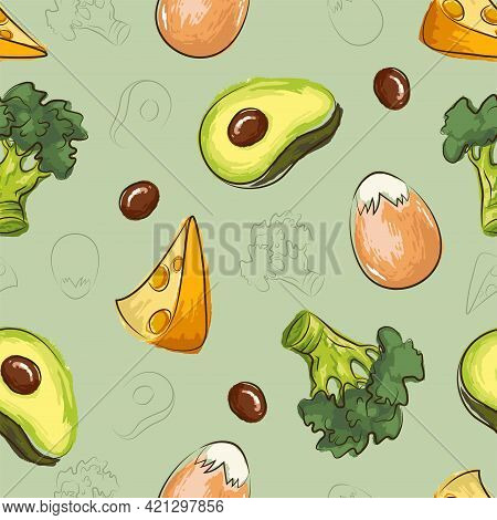 Ketogenic Diet Seamless Pattern With Egg, Cheese, Broccoli, Avocado In Hand Drawn Doodle Style. Low