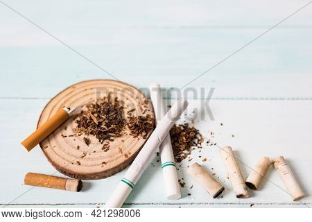Drugs Destroying Family Concept. Quit Smoking For Life On World No Tobacco Day Concept. World No Tob