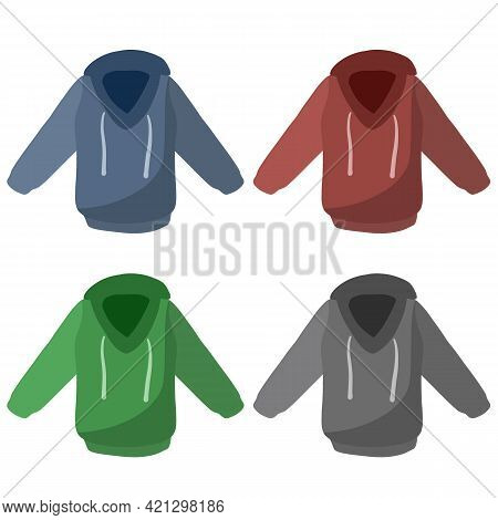 Hoodie With Hood. Cartoon Flat Illustration Isolated On White Background. Blue And Red Warm Clothing
